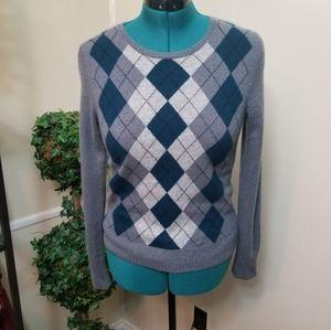 Tweed 100% Cashmere Argyle Grey Sweater Sz L